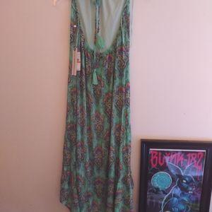 O'Neill mint green floral halter maxi dress